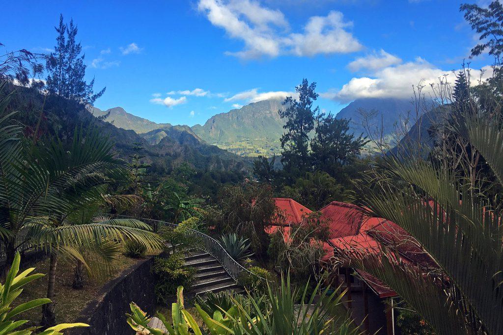 La Réunion - Blick vom Hotel Jardin d'Héva in Hell-Bourg über den Talkessel Salazie.